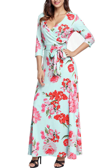 Light Green & Pink Floral Wrap 3/4 Sleeve Maxi Dress
