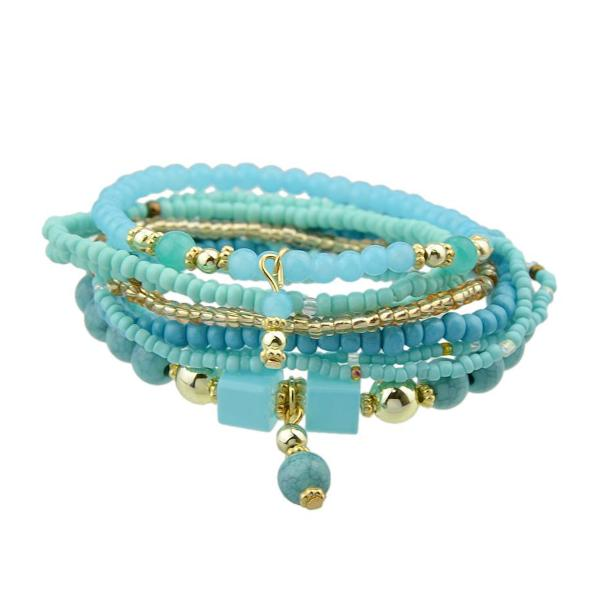 Turquoise Multilayer Beads Elastic Bracelets Set