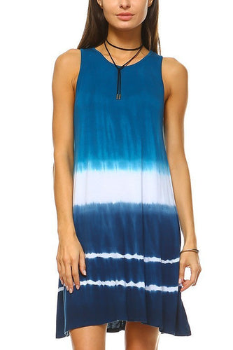 Mock Neck Sleeveless Ombre Tie Dye Tank Dress