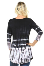 Black and White Bamboo Tie Dye 3/4 Sleeve Hi Low Top