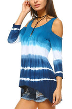 Blue & White Tie-Dye 3/4 Sleeve Cold Shoulder Top