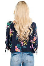 Floral Printed Button Up Blouse in Dark Blue