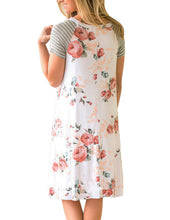 White Floral Print A-line Knit T-shirt Dress