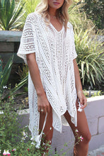White Crochet Knitted Tassel Tie Kimono Beachwear Cover Up