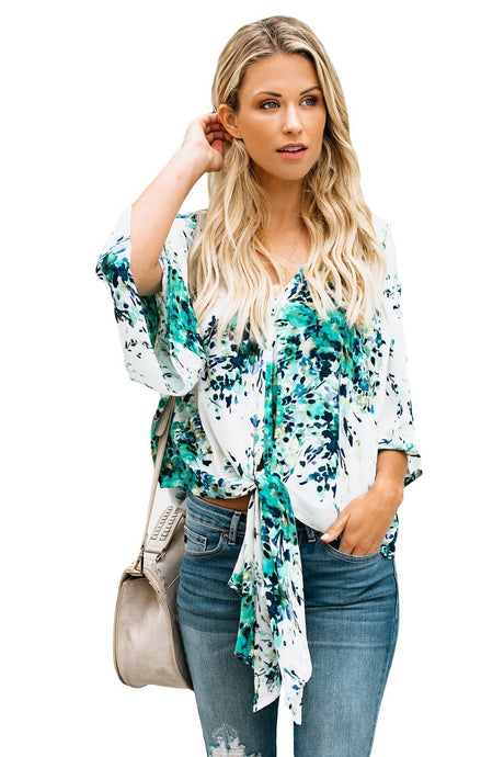 White Background Printed Tie Front Kimono Sleeve Blouse