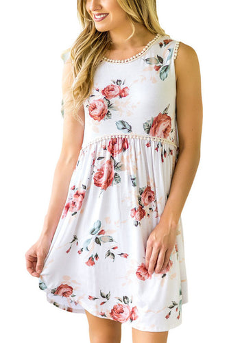 White Floral Lace Trim Sleeveless Mini Dress