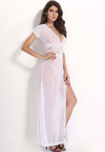 Red, White or Black Mesh Lace V-Neck Long Lingerie Nightgown Sleepwear G-String Set