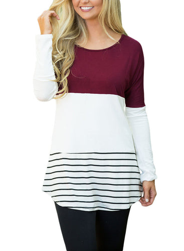 Burgundy Color Block Lace Patch Long Sleeve Tunic Top