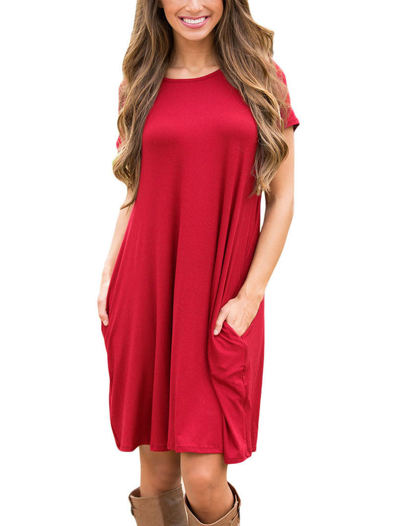 Red Short Sleeve Flared Pocket Tunic Dress