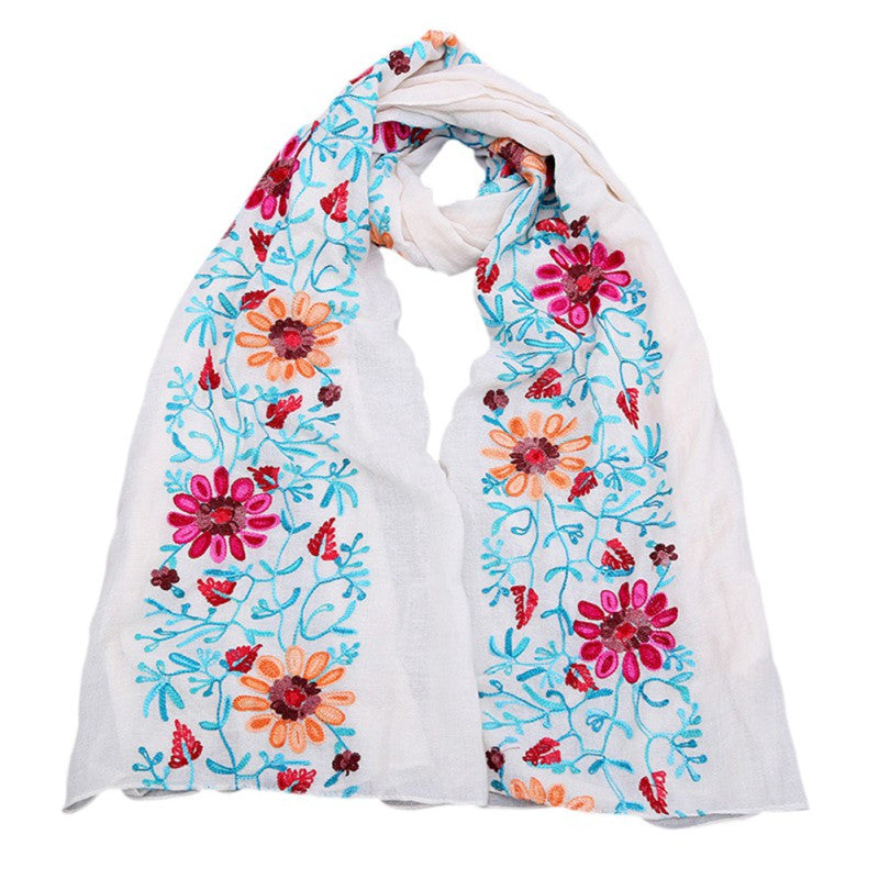 Large Embroidered Cotton Scarf Wrap- White