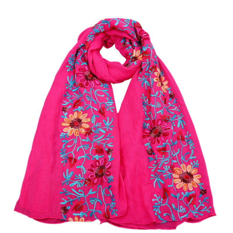 Large Embroidered Cotton Scarf Wrap- Hot Pink