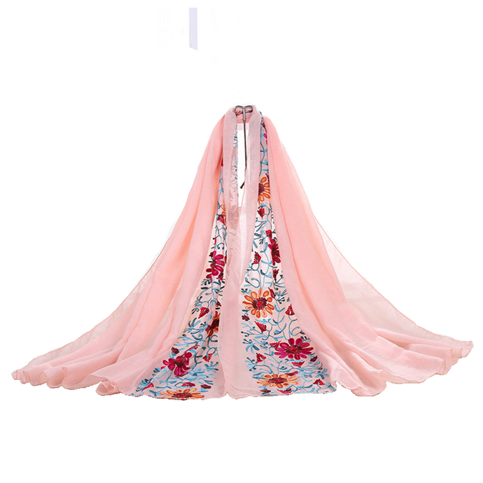 Large Embroidered Cotton Scarf Wrap- Peach