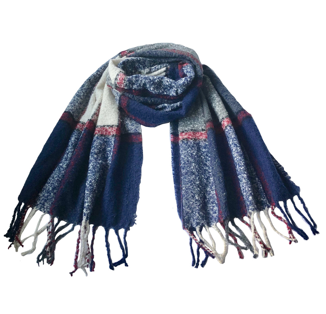 Acrylic Plaid Print Winter Scarves with Tassels in 5 Colors