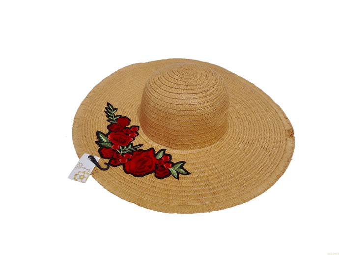 Light Brown Straw Knitted Floral Detail Beach Sun Floppy Hat