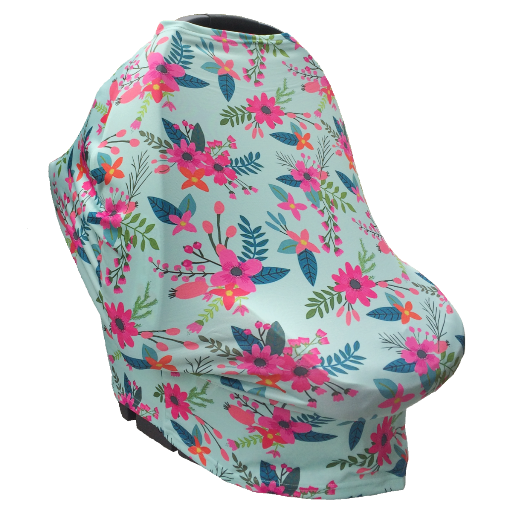 Floral Multi Use Baby Nursing Scarf, Car Seat Canopy Cover- Aqua ...