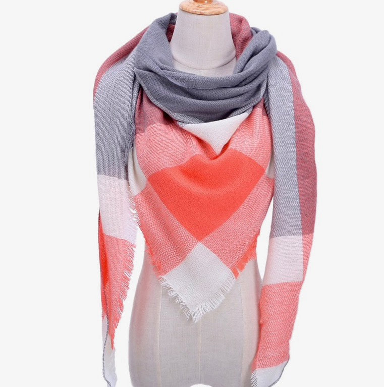 Winter Fall Acrylic Plaid Triangle Scarf - Coral/Gray