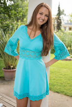 Turquoise Bell Sleeve Lace Detail Tunic Dress