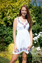 White Floral Embroidered Sleeveless A-line Summer Dress