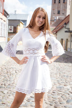 White Cotton Knit Bell Sleeve Lace Detail Tunic Dress