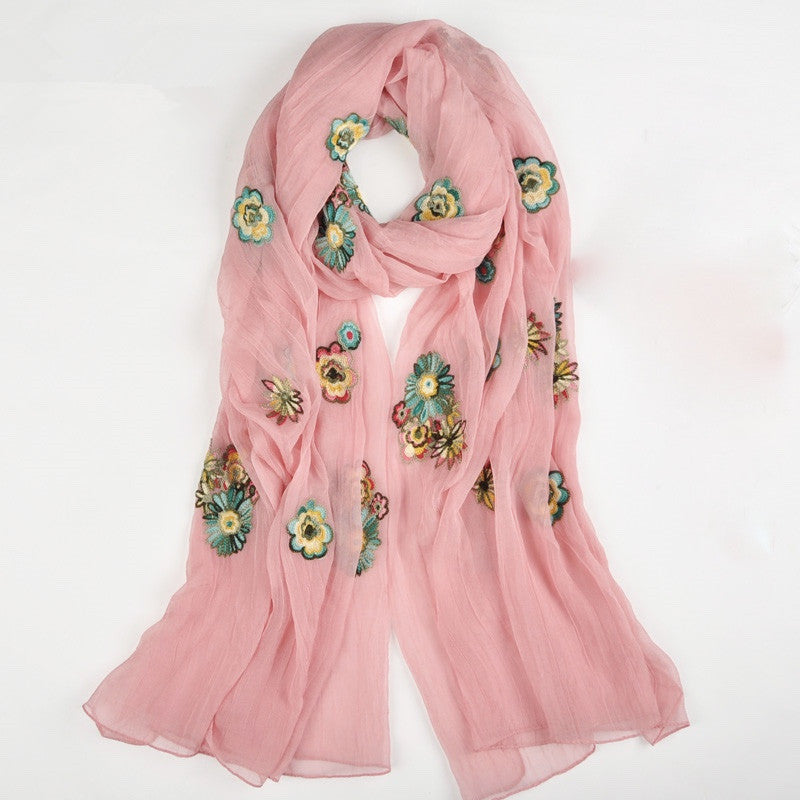 Embroidered Scarf - Pink