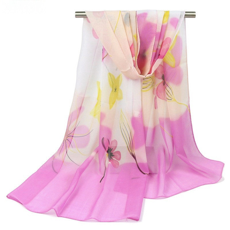 Chiffon Floral Scarf - Pink