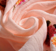 Soft Floral Embroidered Wrap Scarf - Pink