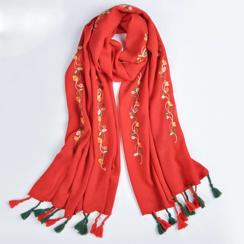 Floral Embroidered Scarf with fringes- Red
