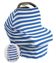 Multi Use Baby Nursing Scarf, Car Seat Canopy Cover- Blue stripes