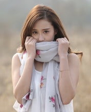 Soft Embroidered Flower Scarf Wrap- Light gray