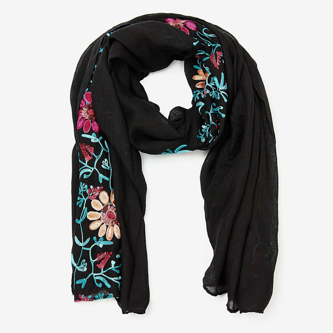 Large Embroidered Cotton Scarf Wrap- Black