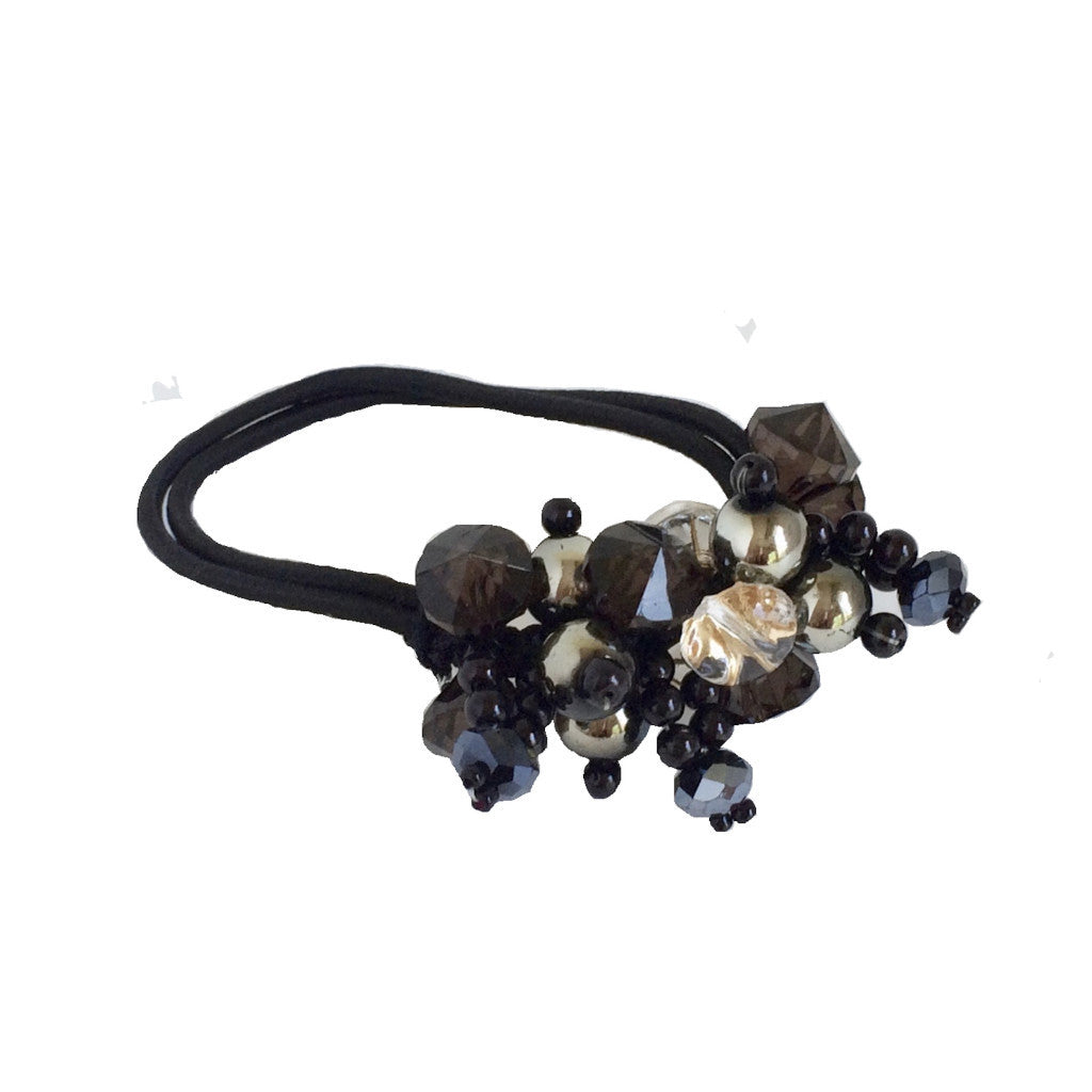 Crystals Pearls Hair Ponytail Holder Band - Black