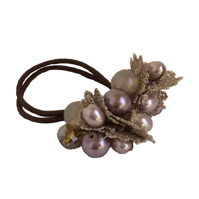 Crystals Pearls Hair Ponytail Holder Band - Brown