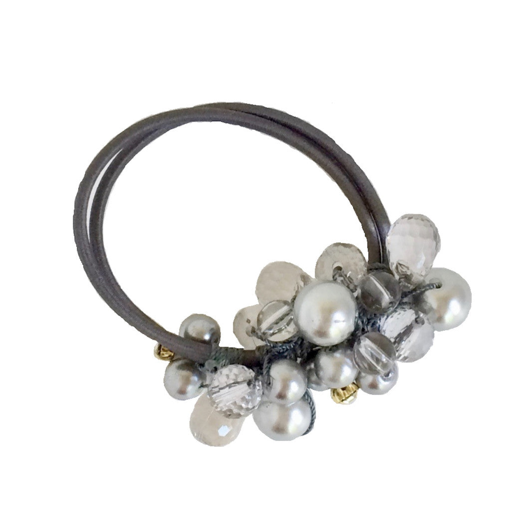 Crystals Pearls Hair Ponytail Holder Band - Gray Silver