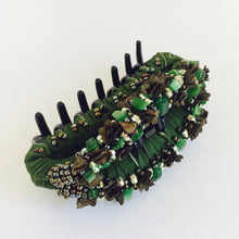 Large Hair Clip Claw - Dark Green Multi