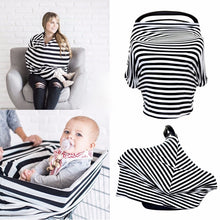 Multi Use Baby Nursing Scarf, Car Seat Canopy Cover- Black stripes