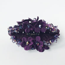 Purple Beaded Rhinestones Large Strong Flower Hair Clip Claw