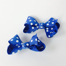 "Girls Set of 2 Cross Grain Ribbon Hair Bow Clips 3.1"" Long- Blue with Dots"