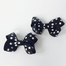 "Girls Set of 2 Cross Grain Ribbon Hair Bow Clips 3.1"" Long- Black with Dots"