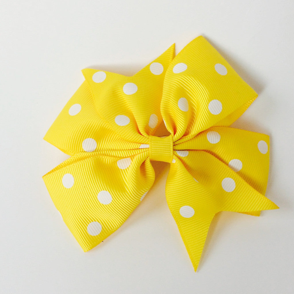 "Girls 4 1/4"" Large Hair Bow Clip - Yellow with Dots"