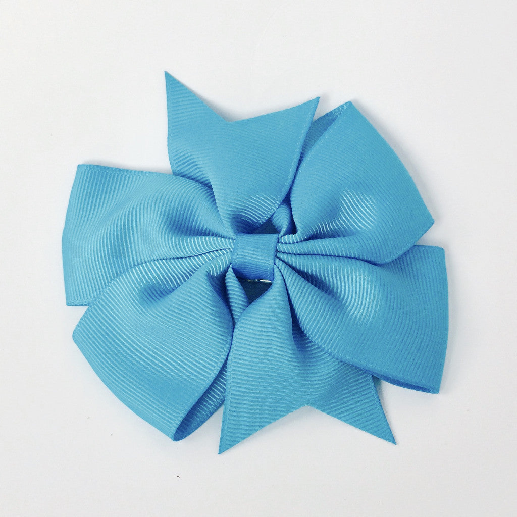 "Girls 4 1/4"" Large Hair Bow Clip - Turquoise"