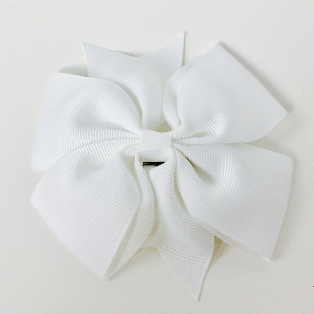 "Girls Large 4 1/4"" Hair Bow Clip - White"