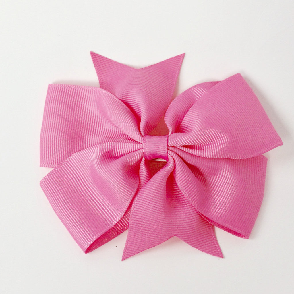 "Girls 4 1/4"" Large Hair Bow Clip - Watermelon Pink"