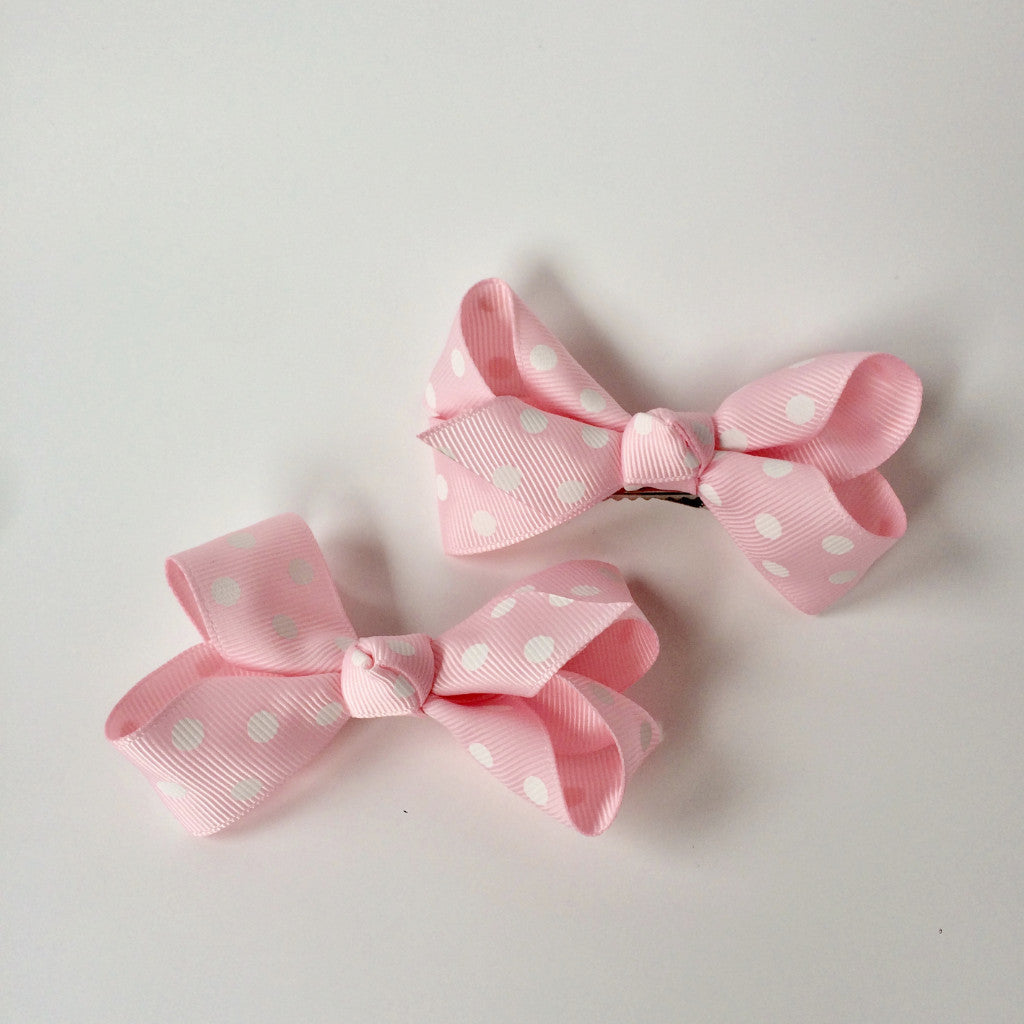 "Girls Set of 2 Cross Grain Ribbon Hair Bow Clips 3.1"" Long- Pink with Dots"