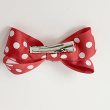 "Girls Set of 2 Cross Grain Ribbon Hair Bow Clips 3.1"" Long- Red with Dots"
