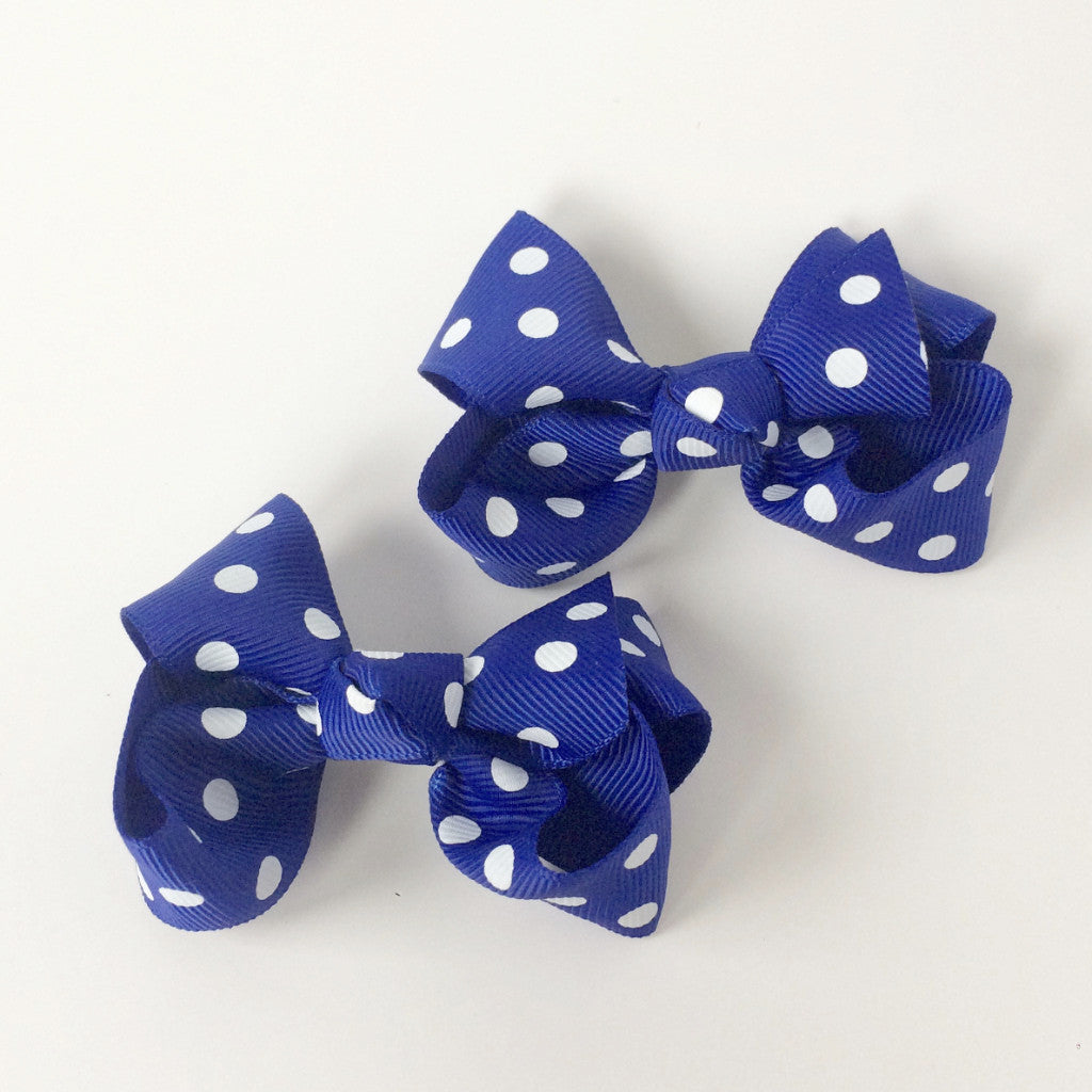 "Girls Set of 2 Cross Grain Ribbon Hair Bow Clips 3.1"" Long- Royal Blue with Dots"