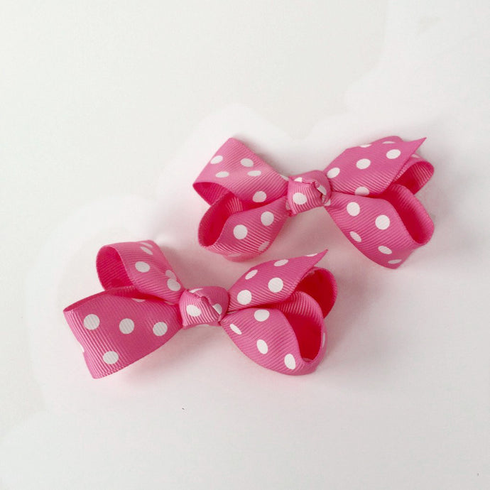 "Girls Set of 2 Cross Grain Ribbon Hair Bow Clips 3.1"" Long- Watermelon with Dots"