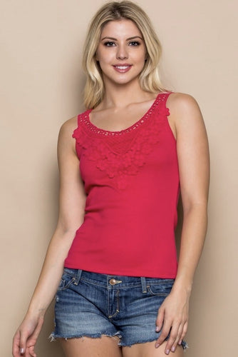 Berry Daisy Crochet Lace Knit Tank Top
