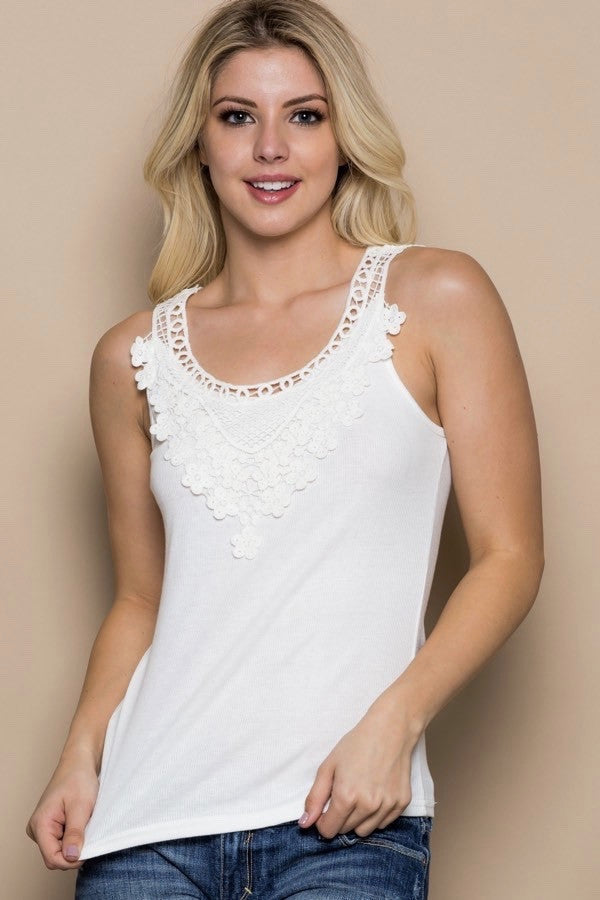 White Daisy Crochet Lace Knit Tank Top