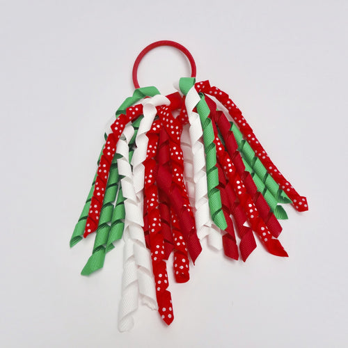 Girls Curly High Quality Ribbon Ponytail Holder- Red/ Green/ White