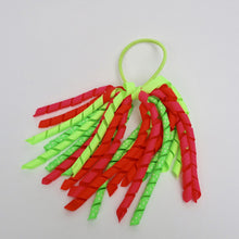 Girls Curly High Quality Ribbon Ponytail Holder- Multi Neon